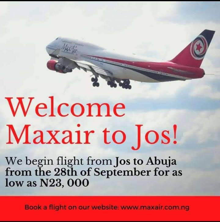 JOS-ABUJA AIR SERVICES TO COMMENCE ON 28TH SEPTEMBER 2020