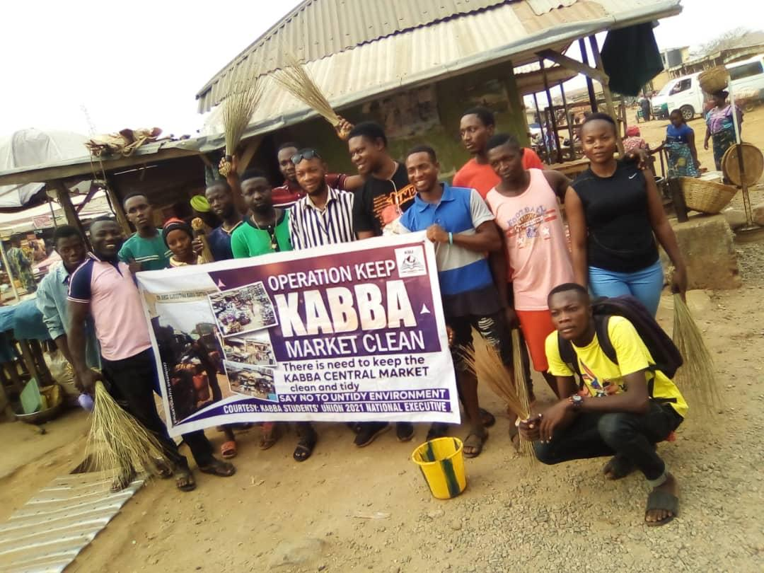 KABBA STUDENT'S UNION EMBARKS ON OPERATION KEEP KABBA CENTRAL MARKET CLEAN
